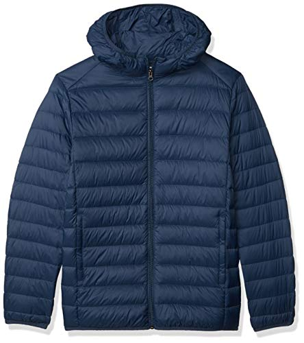 Amazon Essentials Men's Lightweight Water-Resistant Packable Hooded Down Jacket, Navy, Large