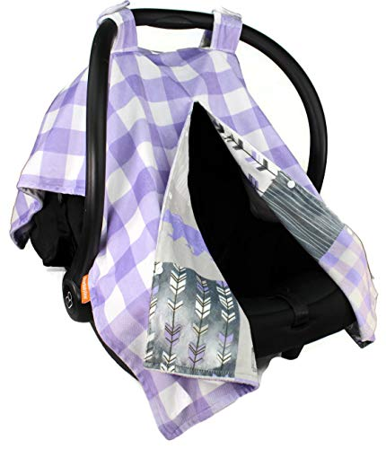 Dear Baby Gear Deluxe Reversible Car Seat Canopy, Custom Minky Print, Adventure Little Lady Faux Quilt Lavender and Lavender Lumberjack Plaid