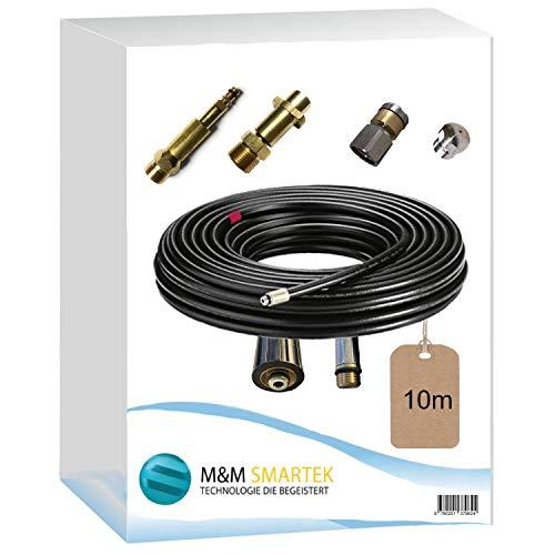 """Rohrreinigungsschlauch Set 4-Teilig für Kärcher Workzone Aldi Craft HD HDS Anschluss 1/8\"""" AG : M22 x 1,5 IG & Bajonett-Adapter & Adapter Quick-Click & rotierende/starre Rohrreinigungsdüse (10 Meter)"""