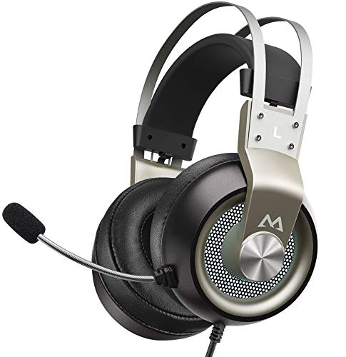 Mpow EG3 Pro Gaming Headset für PS4/PS5/PC/Xbox One/Mac/Switch, Virtual 7.1 Surround Sound, 3.5mm USB Over-Ear Kopfhörer mit Noise Cancelling Mikrofon, LED-Licht (Silber)