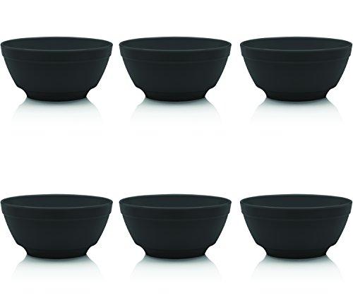 Ou Premium Design- Unbreakable Luna Bowls, Set of 6 (12 oz, Black)