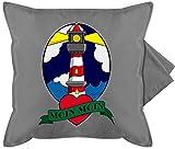 Shirtracer Statement Kissen mit Sprüchen - Moin Moin - Leuchtturm - Unisize - Grau - Fun - GURLI Kissenhülle - Kissenbezug 50x50 cm und Dekokissen Bezug