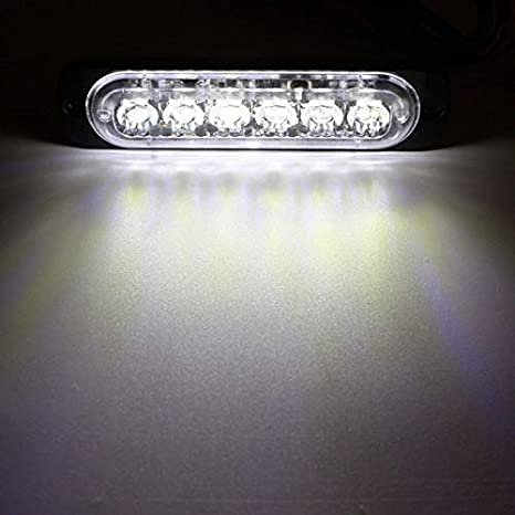 Rojo / 18W 6 LED ámbar/blanco del coche del carro de la motocicleta baliza de emergencia de advertencia de peligro estroboscópico del flash de la parte de abajo Girar la barra ligera de DC12-24V luc