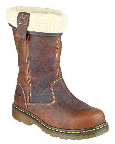 Dr Martens Ladies Rosa Leather Work Safety Rigger Boots Brown