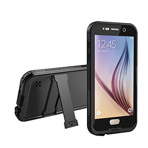 Galaxy S6 Waterproof Case, Dust Proof, Snow Proof, Shock Proof Case with Touched Transparent Screen Protector, Heavy Duty Protective Carrying Cover Case for Samsung Galaxy S6-Black