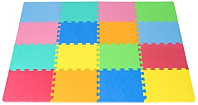 ProSource Kids Foam Puzzle Floor Play Mat with Solid Colors, 36 Tiles or 16 Tiles with Borders