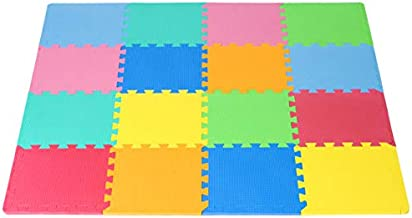 ProSource Puzzle Solid Foam Play Mat for Kids - 16 tiles with edges