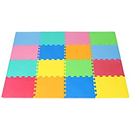 "ProSource Kids Foam Puzzle Floor Play Mat with Solid Colors, 16 Tiles (12""x12"") or 36 Tiles (4""x4"") 4 PROTECTIVE FLOORING – Durable, high density foam provides a gentle surface and protection for your child in areas with hard floors EASY ASSEMBLY – Interlocking puzzle pieces are quick And simple to assemble, easy to pull apart for storage and painless to clean 36 SQ. FEET – 36 interlocking puzzle pieces plus 24 border pieces, covers a 6'x6' area when combined; or just use a few tiles to cover a small area"