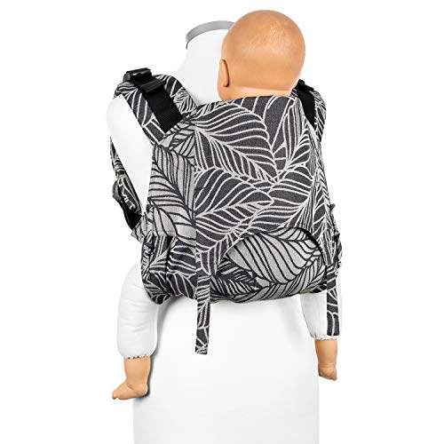 Fidella Onbuhimo Rückentrage für Kinder I Ideal während der Schwangerschaft I Babytrage aus 100% Bio Baumwolle I Tragerucksack mit Sicherheitsschnalle I Schwarz Weiß