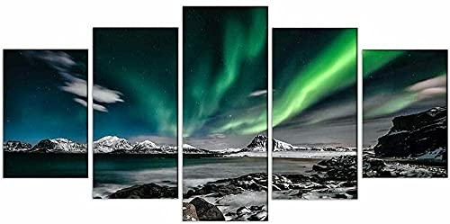 HDASJK 5 Unids Premium Canvas Art Pinturas Colgantes De Pared Decoración Noche De Aurora Moderna Obra De Arte Obsequios Cuadro 150 * 80Cm