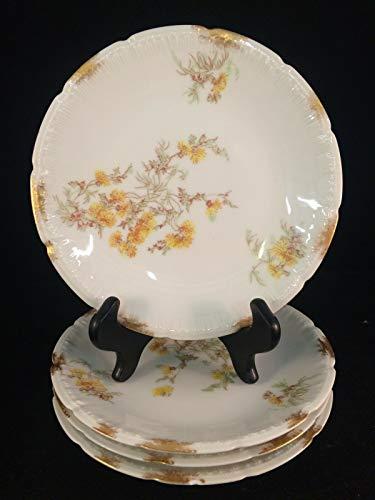 Juego de 4 platos amarillos con diseño floral D&C France Limoges de...