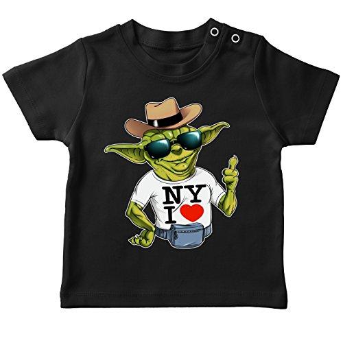 T-Shirt bébé Noir Star Wars parodique Yoda : New York I Love ! (Parodie Star Wars)