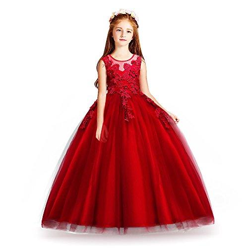 HUAANIUE Kinder Baby Mori Mädchen Kleid Blumenmädchen Kleid Abendkleid Kinderkleidung, 074-rot, 140