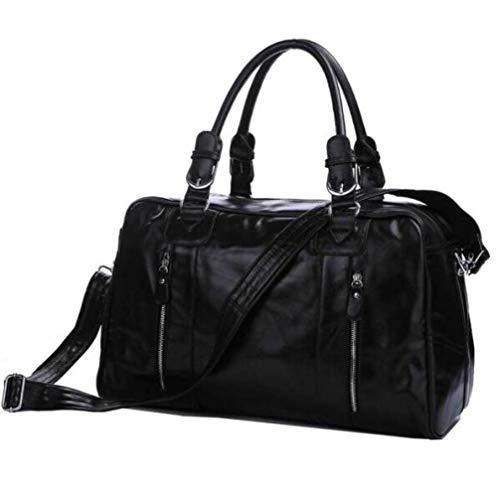 Y&MoD Voyage Casual Duffel Bag en Cuir Hommes Weekend Sacs À Main Big Large Épaule Messenger Bag Fourre-Tout Sport Gym Randonnée Sacs-Noir 46x23x28cm A/Noir