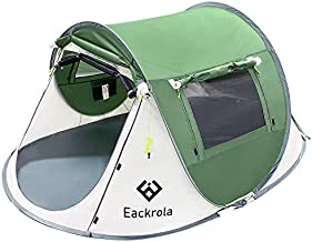 Eackrola 2-Person-Tent, Instant Pop up Tent for Camping, Easy Setup Beach Tent Sun Shelter - Ventilated Mesh Windows, Water Resistant, Carry Bag Included (Green)