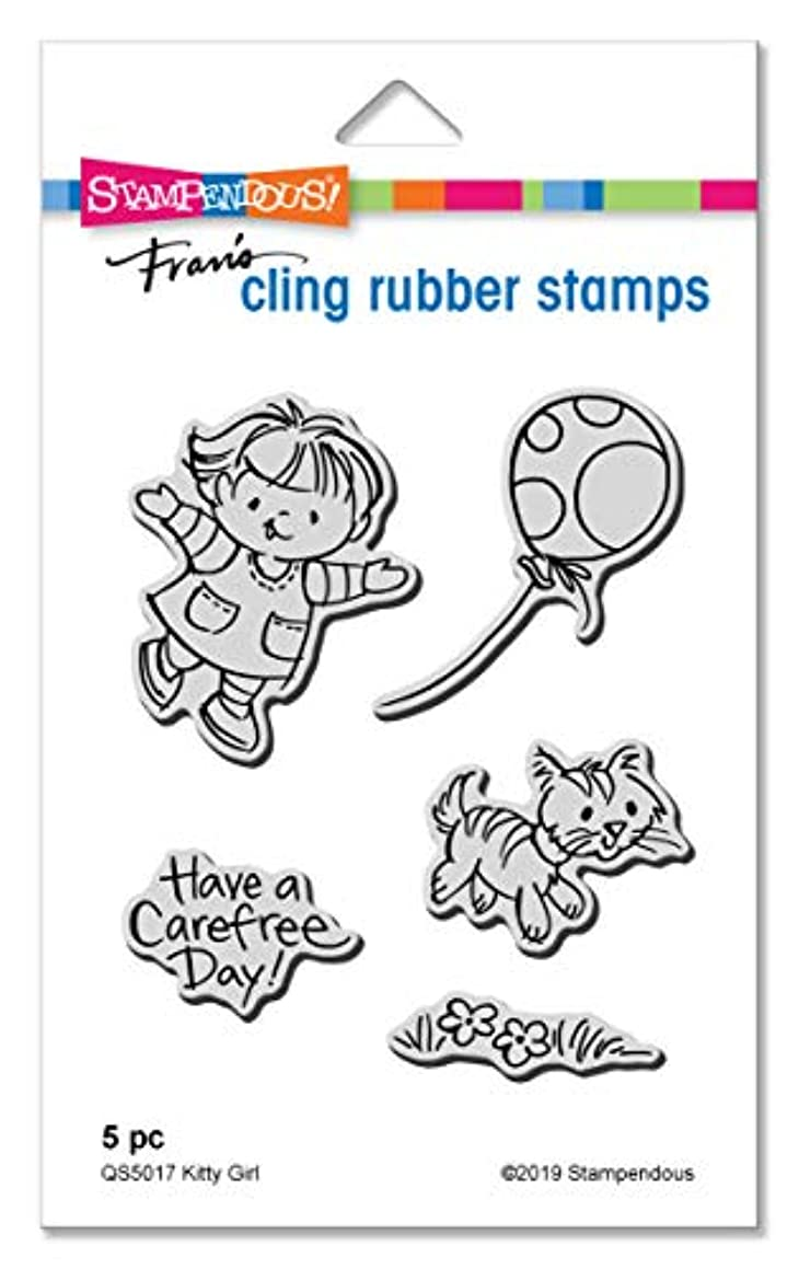 Stampendous QS5017 Kitty Girl Cling Stamp Set
