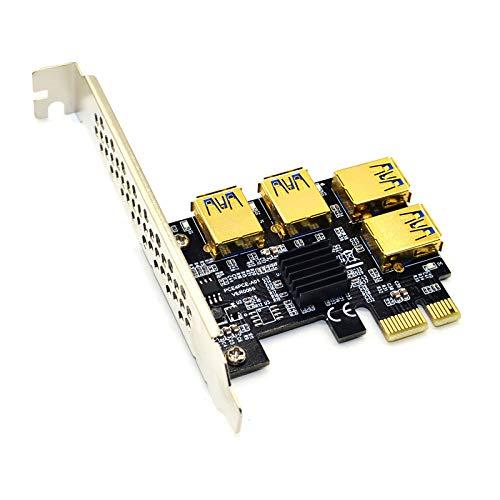 Riser USB 3.0 PCI-E Express 1x a 16x Riser Card Adattatore PCIE 1 a 4 Slot PCIe Port Multiplier Card per BTC Bitcoin Miner Miner (A)