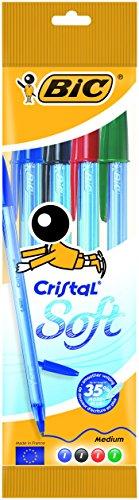 Bic Cristal Soft Punta Media 1,2 mm Confezione 4 Penne con Cappuccio Colori Assortiti
