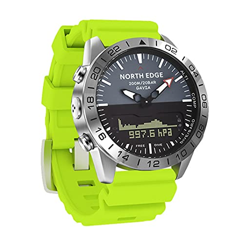 Reloj Militar multifunción para Hombre al Aire Libre 200M Reloj Digital de Doble Pantalla Impermeable Reloj de Pulsera de Buceo de presión de altitud con brújula Contador de calorías (Green)