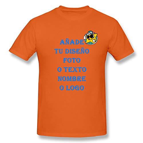 Personalizada con Foto Camiseta Básica De Manga Corta T-Shirt para Hombre con De 100% Algodón (Anaranjado,S)