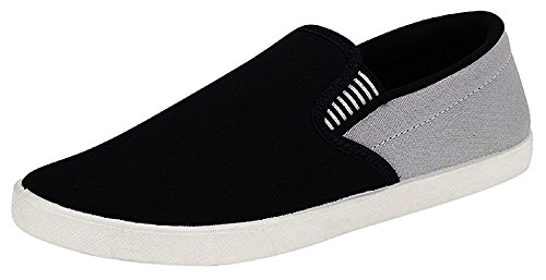 Ethics Perfect Black Grey Loafer Shoes for Men (Black Grey, Numeric_8)