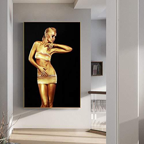Ramen Mooie Gouden Danser Vrouw Schilderij Poster en Print Mural op Canvas Schilderij Foto voor Woonkamer Decoratie Schilderij Kalligrafie 30x40cm E2