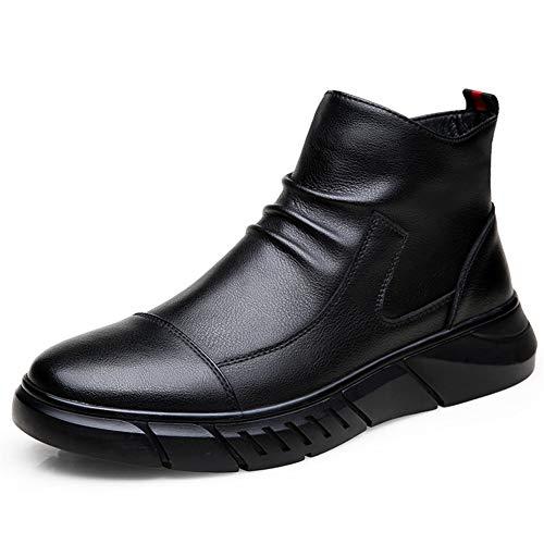 SAIPULIN Enkellaarsje Trekken Aan met Zijrits Combat Laarzen voor Mannen Echt Leer Warm Rimpel Anti Slip Cap Teen Warm Flat Super Zacht