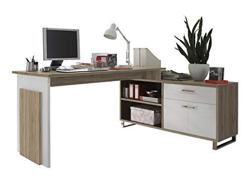 BEGA Manager Eck-Schreibtisch | In Sonoma Eiche | 140 x 76 x 65 cm | Mit Sideboard | 130 x 62 x 40 cm