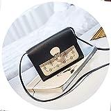 Bolso bandolera de piel de calidad hueca para el hombro, bolso cruzado, color Negro, talla Talla única