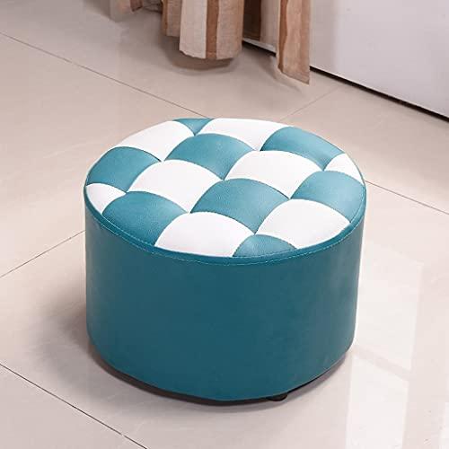 CYSHAKE Short Round Tavolino Sgabello Divano Adulti Soggiorno Home Moda Creativa in Pelle Sgabello Scarpe Stool 40 * 40 * 26cm Sgabello Basso (Color : Blue)