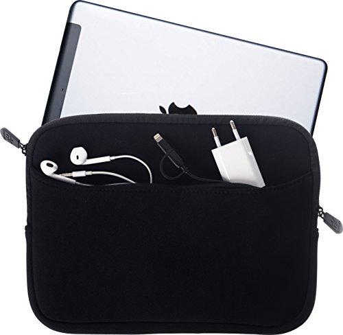 honju Tablet Tasche - Hülle für Geräte 9,7 bis 10,2 Zoll aus Neopren, große Außentasche mit Reißverschluss & weichem Innenfutter - schwarz