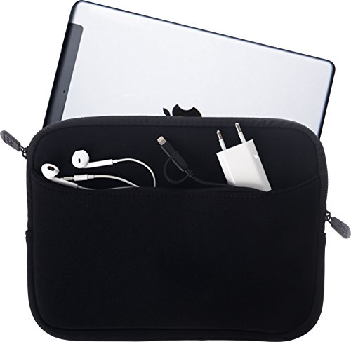 honju Tablet Tasche - Hülle für Geräte 9,7 bis 10,2 Zoll aus Neopren, große Außentasche mit Reißverschluss und weichem Innenfutter - schwarz