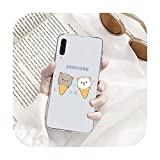 Linda caricatura melocotón gatos teléfono caso transparente para Samsung A71 S9 10 20 HUAWEI p30 40 honor 10i 8x xiaomi note 8 Pro 10t 11-a12-honor 8x