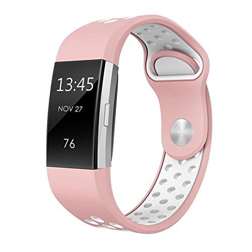 Ouneed Für Fitbit Charge 2 Uhrenarmband, Luxus Women Kleiner Code Sport Silikon Armband Bügel Band Uhrenarmband Strap für Fitbit Charge 2 Gift (D)