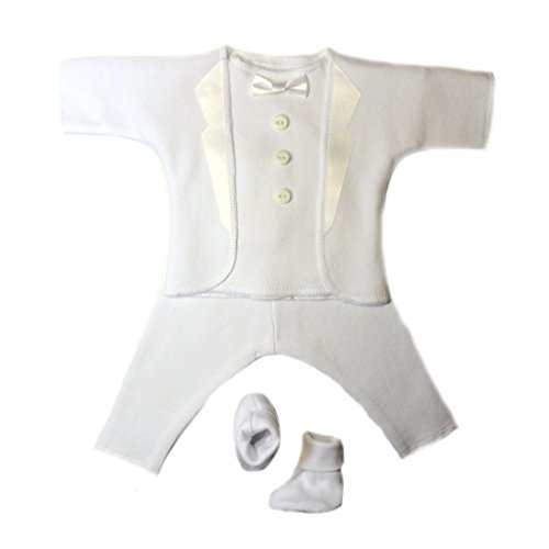 Jacqui's Baby Boys' All White Tuxedo Suit, 0-3 Months