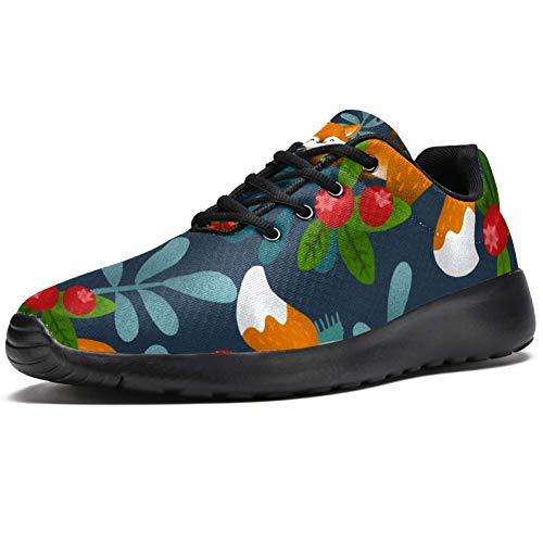 TIZORAX Laufschuhe für Herren Winter Forest Schal Fox Fashion Sneaker Mesh Atmungsaktiv Walking Wandern Tennis Schuh, Mehrfarbig - mehrfarbig - Größe: 40 2/3 EU