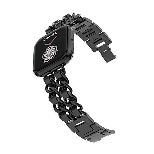 Wearlizer Kettenbänder für Fitbit Versa 2 / Fitbit Versa/Versa Lite Bänder für Frauen Mädchen, Metallkette mit Lederband Armband für Fitbit Versa Dressy Bands (Schwarz)