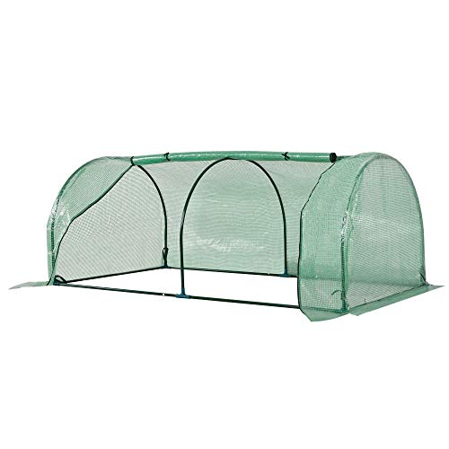 Outsunny Tunnel Greenhouse Green Grow House for Garden Outdoor, Steel Frame, PE Cover, Green, 200 x 100 x 80cm