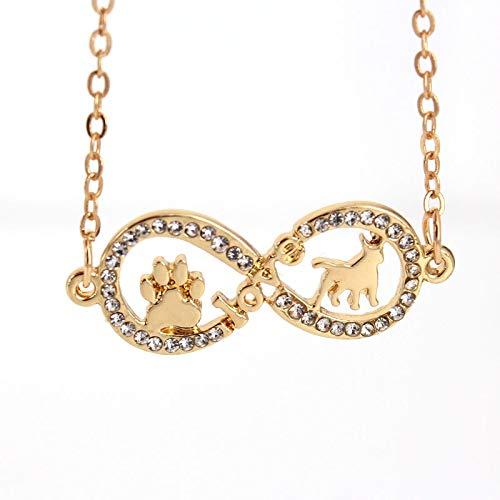 GMZTT Halskette High-end Temperament Halskette Acht Form Liebe Hund Und Paw Klaue Anhänger Halskette Zwei Farben Hundehalsketten 40 cm Hellgelb Gold