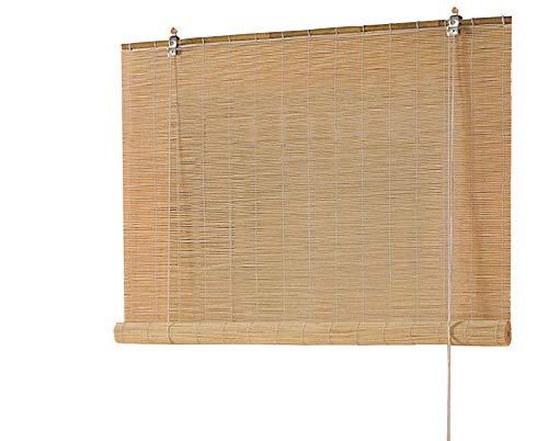 Bambusrollo Seitenzugrollo Bambus Vorhang Holzrollo Rollo Breite 60 - 160 cm Höhe 160 cm Farbe Natur Wand- und Deckenmontage blickdicht lichtdurchlässig Fenster Sonnenschutz Sichtschutz (80 x 160 cm)