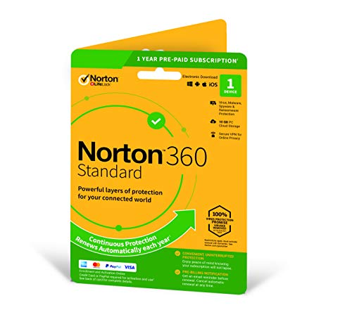 Norton 360 Standard 2020 | 1 Device | 1 Year | Includes Secure VPN and Password Manager | PC, Mac, smartphone or tablet | Activation Code by Post