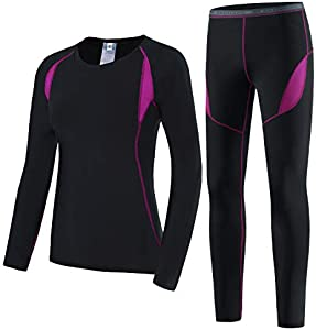 HAINES Conjunto Termico Mujer Ropa Interior Termica Esqui Camiseta Termica para Montaña Ciclismo Fitness Rosa Gr.40