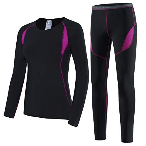 HAINES Ensemble de sous-Vêtements Thermiques Femme Base Layer sous-Vêtements Ski pour L'entraînement Randonnée Rose GR.38