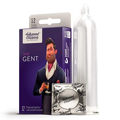 Hollywood Condoms, Premium Ultra-Thin Lubricated, Natural Latex Condom, Rubbers with a Snug, Comfortable Fit for Enhanced Sensitivity and Pleasure for him & her – Get Your Gent - 12 Pack