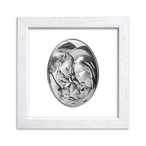 Quadretto in Legno con Placca Sacra Argentata Ovale Ideale Come Bomboniera Battesimo Comunione Matrimonio e Anniversari - Made in Italy (Sacra Famiglia Bianca, Piccola)