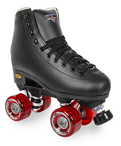 Sure-Grip Fame Outdoor Roller Skates 78A Outdoor Wheels (Mens 10 / Womens 11, Black / Red)