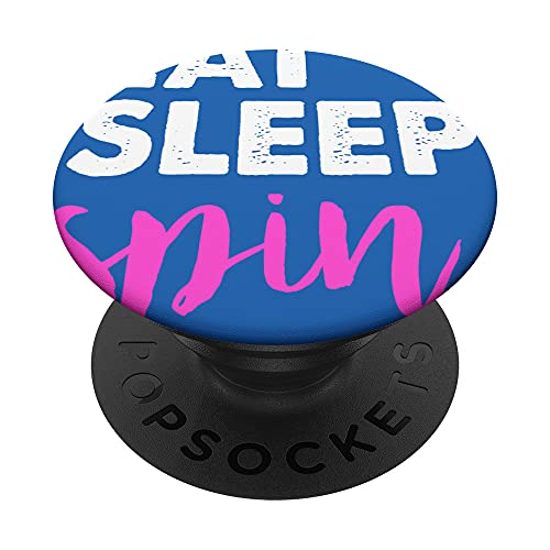 Eat Sleep Spin Funny Gym Sayings Spinning Class & Workout Gi PopSockets Swappable PopGrip