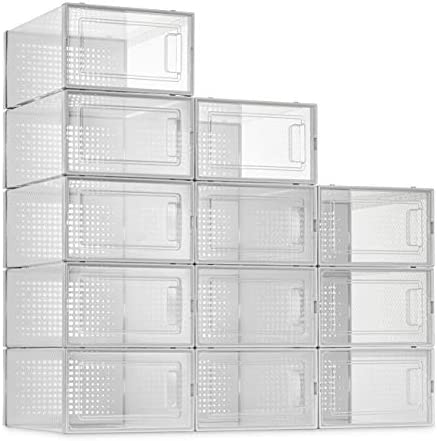 12 Pack Shoe Storage Boxes Clear Plastic Stackable Shoe Organizer Bins Drawer Type Front Opening product image