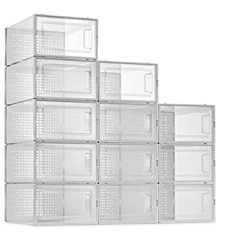 SESENO 12 Pack Shoe Storage Boxes Clear Plastic Stackable Shoe Organizer Bins Drawer Type Front Opening Shoe Holder Containers