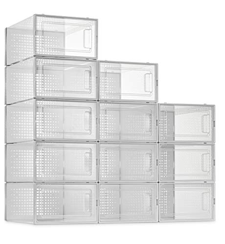12 Pack Shoe Storage Boxes, Clear Plastic Stackable Shoe Organizer Bins, Drawer Type Front Opening Shoe Holder Containers